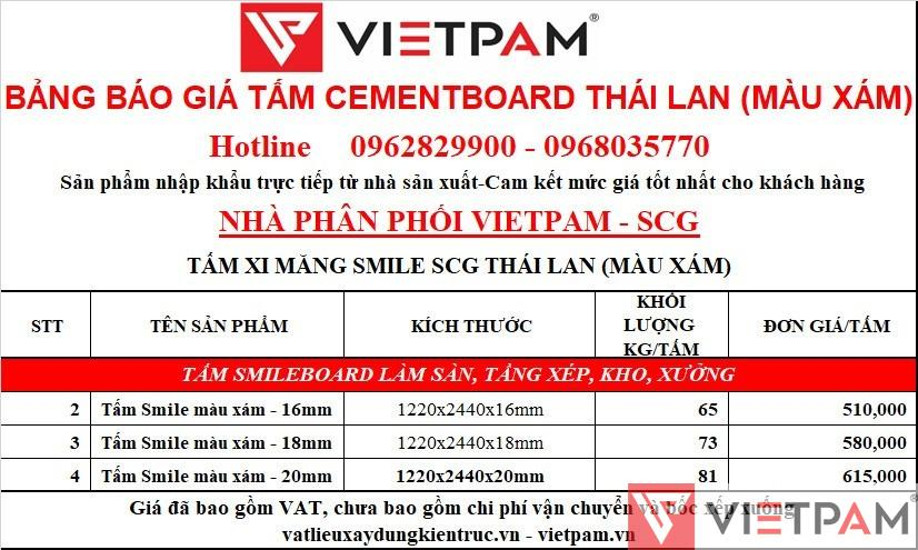 Giá tấm xi măng cemboard Thái Lan